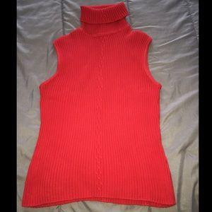 Red Sleeveless Turtleneck Blouse